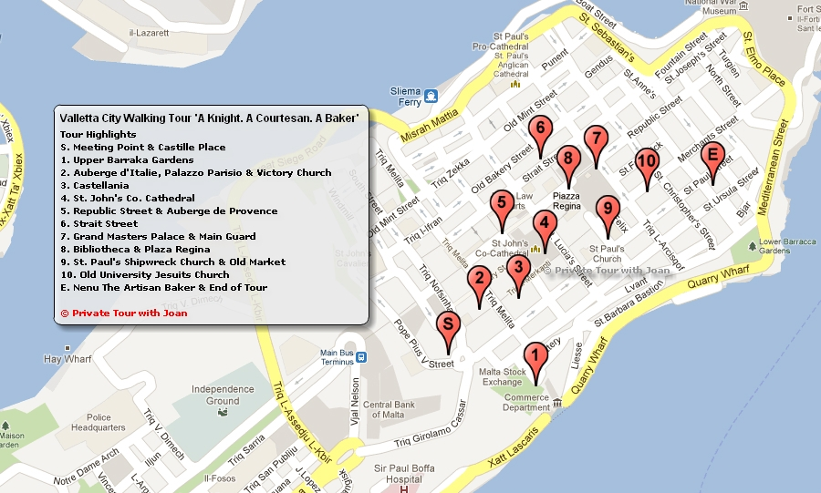 Malta Tour Guide - Map your walking route